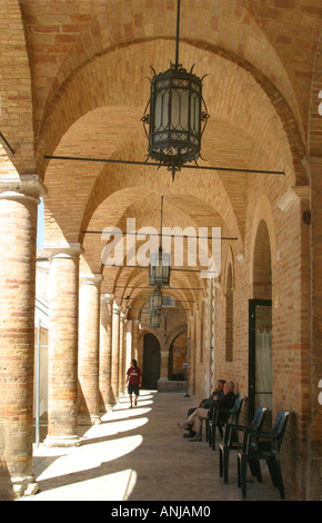 Elegant,15th century, loggia of the Town Hall in the beautiful small hilltown of Offida,in Le Marche, The Marches,Italy - Stock Image