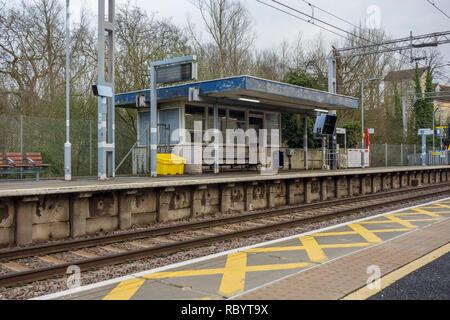 Sawbridgeworth railway station platform and building on the train line to London. UK - Stock Image