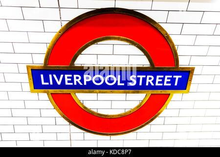 Liverpool Street underground station London, Liverpool Street underground station sign, Liverpool Street tube station, - Stock Image