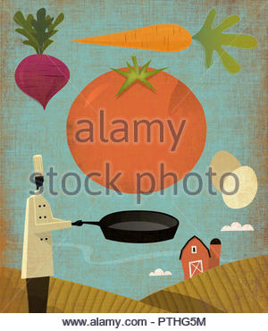 Farm to table with chef using local farm produce - Stock Image