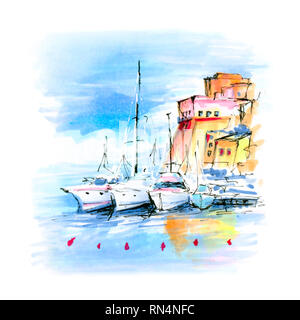 Pier with fishing boats and in harbour of Castellammare del Golfo in the Trapani Province of Sicily, Italy. Picture made markers - Stock Image