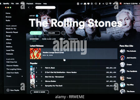 Rolling Stones Spotify home page - Stock Image