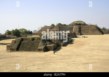 A View of Monte Alban from the North Platform, Buildings G H I and J in the Foreground with the South Platform in - Stock Image