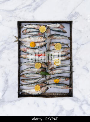 Fresh sardines and lemons in a wooden tray. - Stock Image