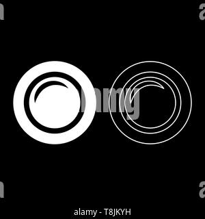 Camera lens photo equipment icon outline set white color vector illustration flat style simple image - Stock Image