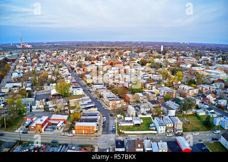 Aerial View of Delaware Riverfront Town Gloucester New Jersey - Stock Image
