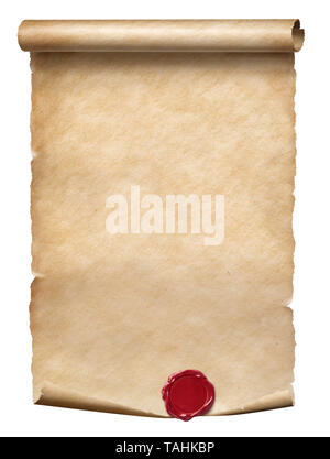 Old parchment scroll with wax seal isolated on white - Stock Image
