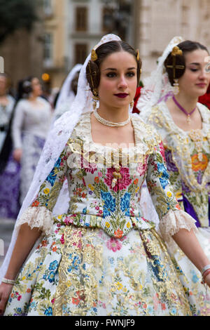 Woman in traditional Valencian costume  Valencia Spain - Stock Image