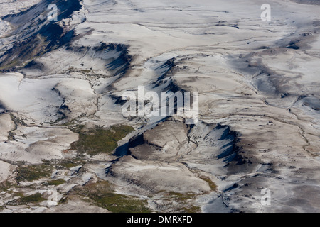 volcano Andes Chile river creek lava flow mountains aerial views - Stock Image