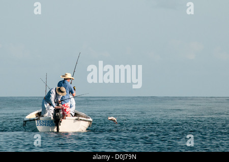 Three fishermen in a small dinghy catch a fish out on Swains Reef on the southern end of the Great Barrier Reef, - Stock Image