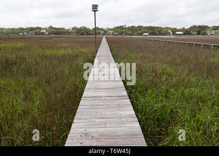 A jetty on Pawleys Island in South Carolina, USA. The jetty runs towards the waterfront. - Stock Image