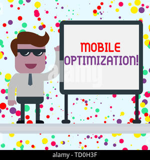 Conceptual hand writing showing Mobile Optimization. Concept meaning Site Content Reformatted for Handheld or Tablet Devices Office Worker Sunglass Bl - Stock Image