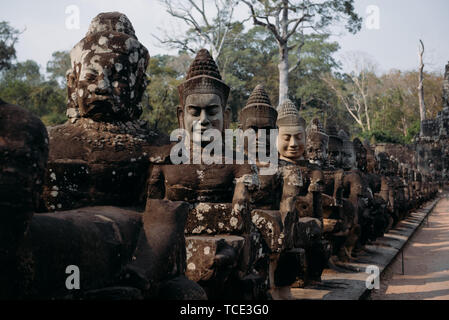 Statues in a row, Angkor Wat, Siem Reap, Cambodia - Stock Image