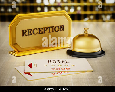 Hotel key card, bell and reception sign on hotel front desk. 3D illustration. - Stock Image