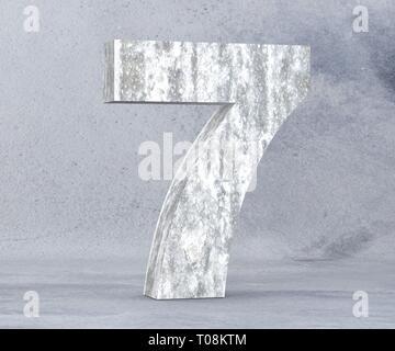 3D rendering concrete number 7 seven. 3D render Illustration. - Stock Image