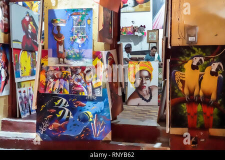 Cartagena Colombia Old Walled City Center centre Getsemani art gallery traditional paintings display sale - Stock Image