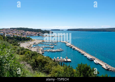 View on Pylos, with historically name Navarino, seaport town in Messenia, Peloponnese, Greece, main harbour on Bay of Navarino, holiday destination fo - Stock Image