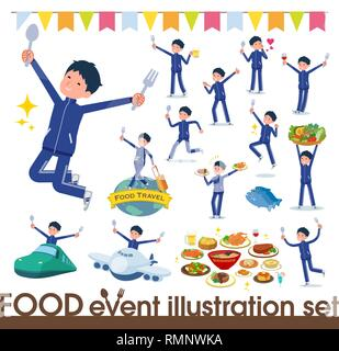 A set of school boy in sportswear on food events.There are actions that have a fork and a spoon and are having fun.It's vector art so it's easy to edi - Stock Image