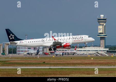 OE-LWH Austrian Airlines (Star Alliance) Embraer ERJ-195LR (ERJ-190-200 LR) at Malpensa (MXP / LIMC), Milan, Italy - Stock Image