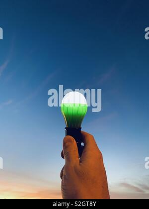 A hand holding a light bulb at sunset. - Stock Image