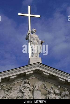 Saint Helena (Drapanum, c. 250-Rome, c. 330). Consort Empress of the Roman Empire. Statue of the Saint holding the cross, by sculptor Kazimierz Jelski . Cathedral of Vilnius (1777). Lithuania. - Stock Image