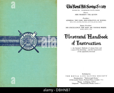 The Royal Life Saving Society Handbook of Instructios 1950s RLSA - Stock Image
