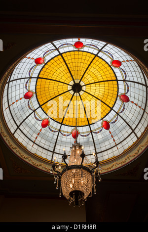 KATOOMBA, Australia - A leadlight domed ceiling inside the historic Carrington Hotel in Katoomba in the Blue Mountains - Stock Image