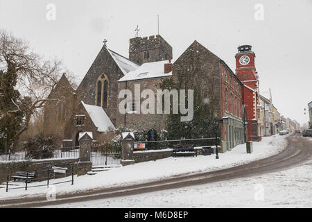 Pembrokeshire, Wales, 2nd March 2018. A rare snow filled main street in Pembroke town in Pembrokeshire, Wales Credit: - Stock Image