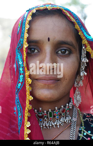 Rabari woman with necklace - Stock Image