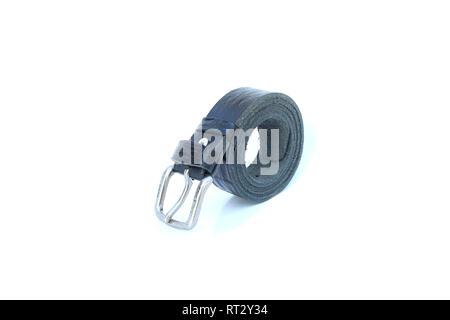 black leather belt on isolated - Stock Image