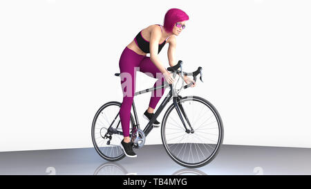Girl with short purple hair on bicycle, athletic woman in sports outfit riding a bike on white background, 3D rendering - Stock Image