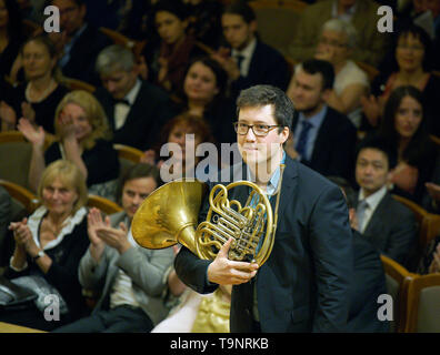 Prague, Czech Republic. 19th May, 2019. French horn player Alexandre Collard performs with the Prague Philharmonia conducted by Ben Glassberg of Britain during the Prague Spring International Music Festival in Prague, Czech Republic, May 19, 2019. Credit: Michaela Rihova/CTK Photo/Alamy Live News - Stock Image
