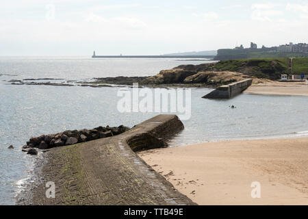 Tynemouth pier and priory seen looking south from Cullercoats bay, north east England, UK - Stock Image