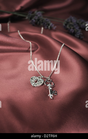 Chain and pendant - lock and key - Stock Image
