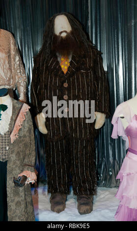 Costume worn by actor Robbie Coltrane, as Rubeus Hagrid, at the Yule Ball in Harry Potter and the Goblet of Fire. - Stock Image