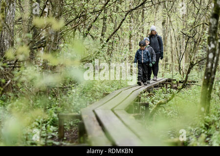 Mother and sons walking in forest - Stock Image