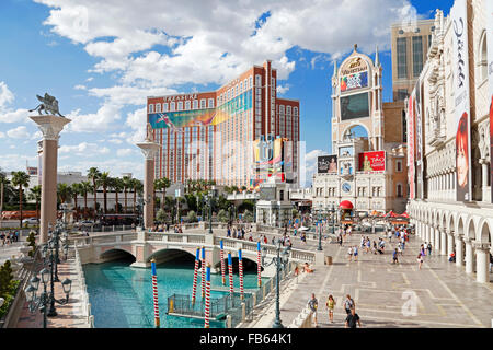 Treasure Island Resort and Hotel seen from the Venetian hotel, on the strip in Las Vegas, Nevada. - Stock Image