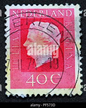 Used franked Nederland Netherlands Stamp, Juliana Regina 40c Forty Cent - Stock Image