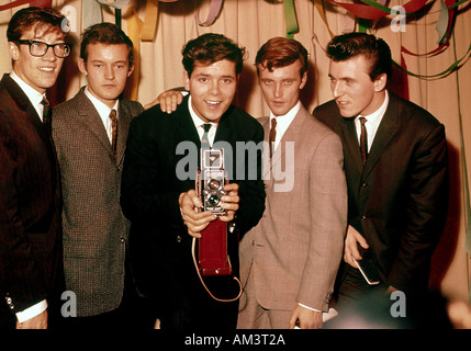 CLIFF RICHARD English pop singer with his band The Shadows at his birthday party in 1961. For names see Description - Stock Image