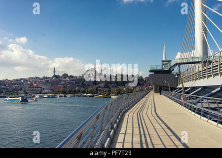 View of Istanbul from the new cable-stayed bridge across the Golden Horn - Stock Image