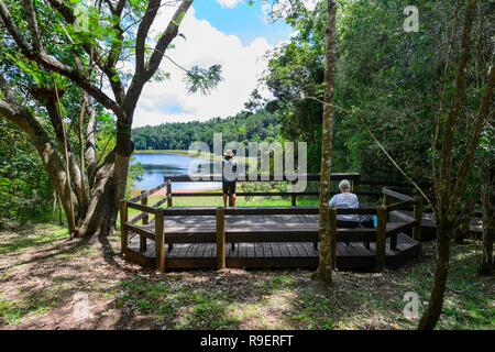 Tourists on an observation platform at Lake Euramoo, a crater lake, Atherton Tableland,  Far North Queensland, FNQ, QLD, Australia - Stock Image