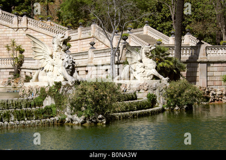 Winged Dragon Statues on Cascade Fountain, Parc de la Ciutadella, Barcelona, Spain - Stock Image