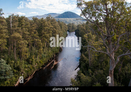 Fork of the Picton and Huon Rivers seen from the Tahune AirWalk, an overhead walkway in the Tahune Forest Reserve, Geeveston, Tasmania, Australia - Stock Image