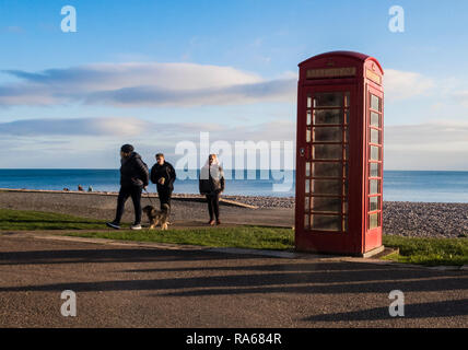 Budleigh Salterton, Devon, 1st Jan 19, Families enjoy the late afternoon on the beach at Budleigh Salterton, Devon. Photo Central / Alamy Live News - Stock Image