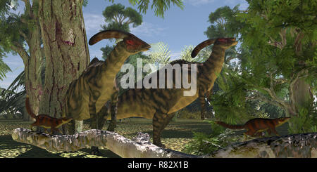 Parasaurolophus in The Forest - Two Parasaurolophus dinosaurs browse on foliage of the Montezuma Cypress tree as Cronopia mammals scrurry to safety. - Stock Image