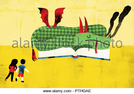 Children approaching dragon asleep on top of open book - Stock Image