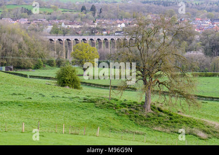 The Pontcysyllte Aqueduct on the Llangollen Canal in Wales - Stock Image