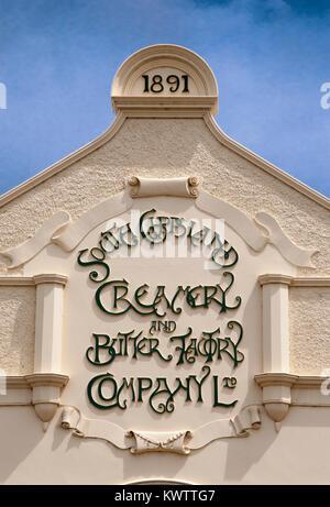 Art Nouveau inscription above a butter factory in South Gippsland, Victoria, Australia - Stock Image