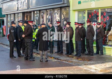 Trowbridge, Wiltshire, UK. 11th Nov, 2018. Police cadets preparing for remembrance parade Credit Estelle Bowden/Alamy Live news - Stock Image