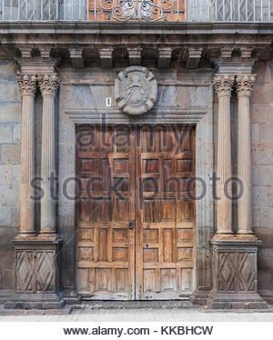 The door of the Convent of St Catherine of Sienna in Plaza del Adelantado (Governor's Square), La Laguna, Tenerife, - Stock Image
